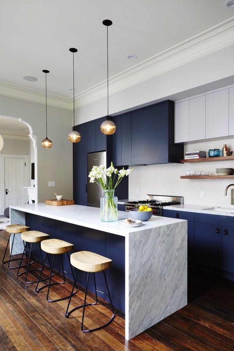 blue kitchens quartz counter island More