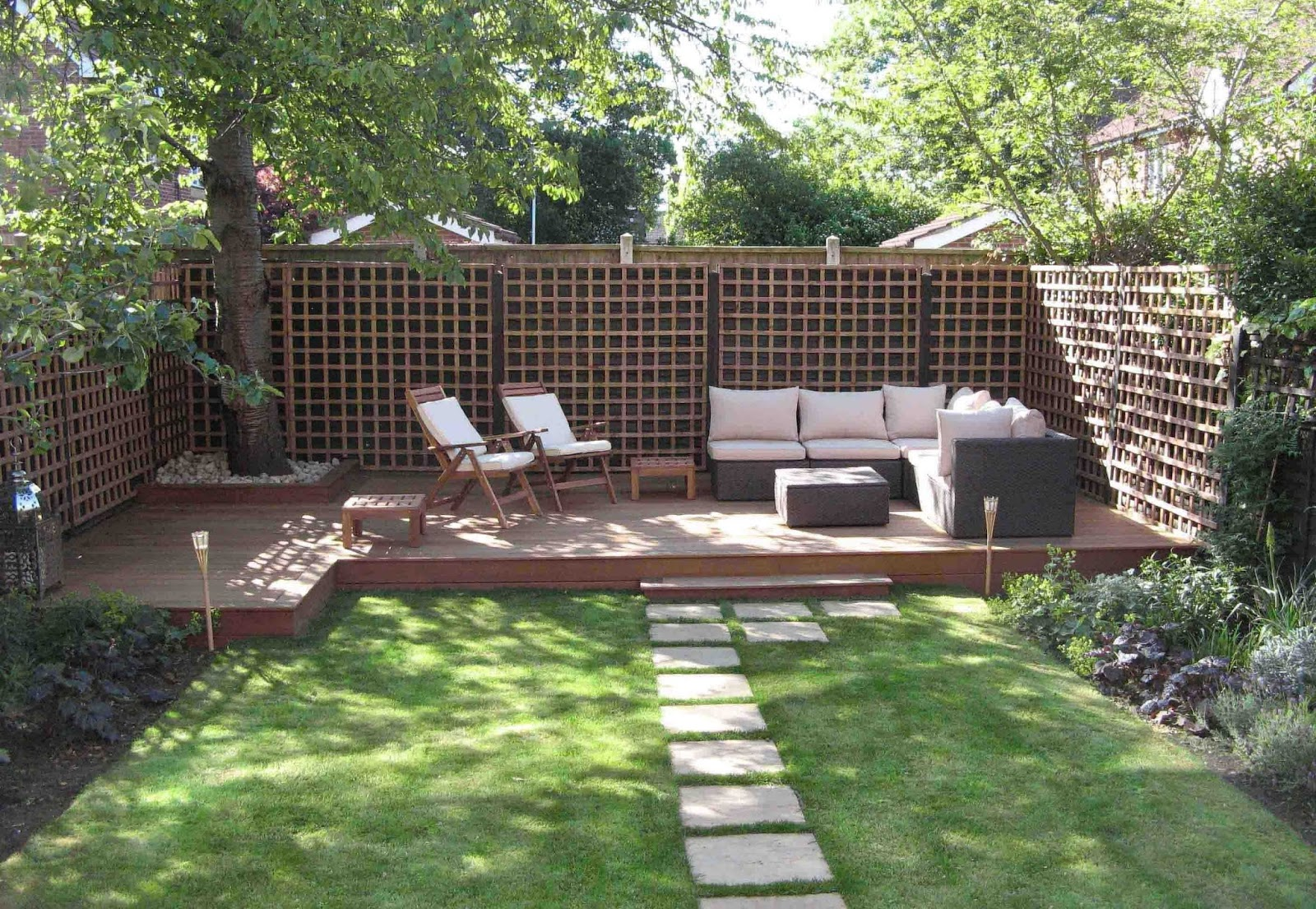 Garden decking away from the house