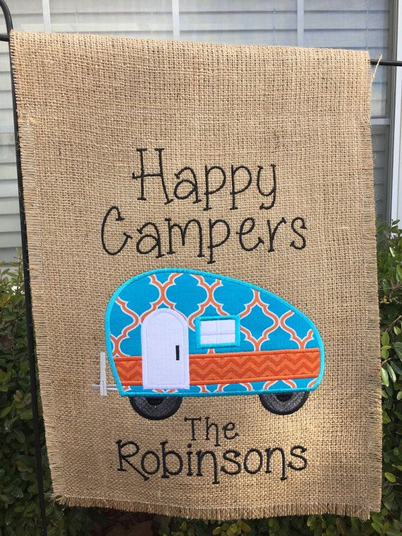 Happy Camper Burlap Garden Flag by SimplySewCustom on Etsy | camper