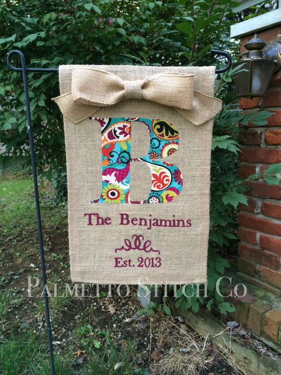 Personalized Burlap Garden Flag Monogram with Family Name and Year