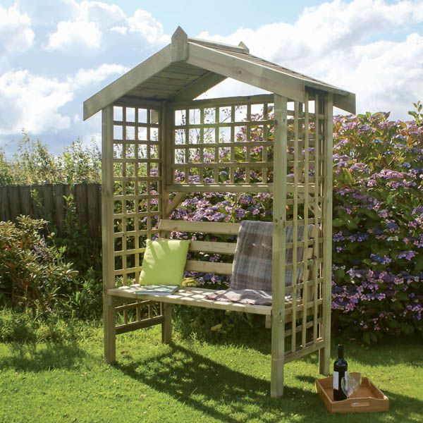 Zest 4 Leisure Suffolk Arbour Wooden Garden Seat Pergola With Large