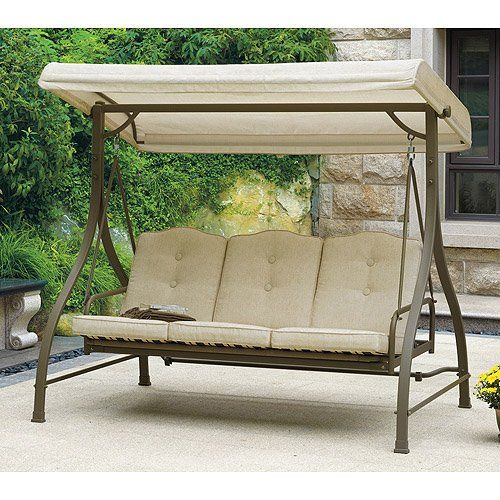 Outdoor Swing / Hammock, Tan, Seats 3. Porch & Patio Swings Give