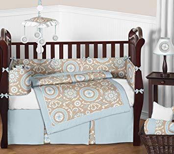 Amazon.com : Sweet Jojo Designs 9-Piece Blue and Taupe Hayden Gender
