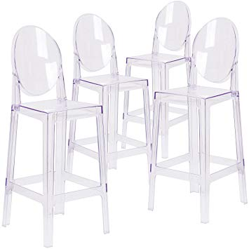 Amazon.com: Flash Furniture 4 Pk. Ghost Barstool with Oval Back in