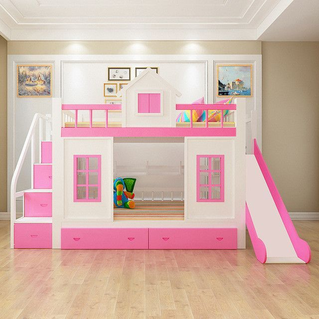 Wood Bunk Bed with Stairs and Slide option | Ava and Adalyn in 2019