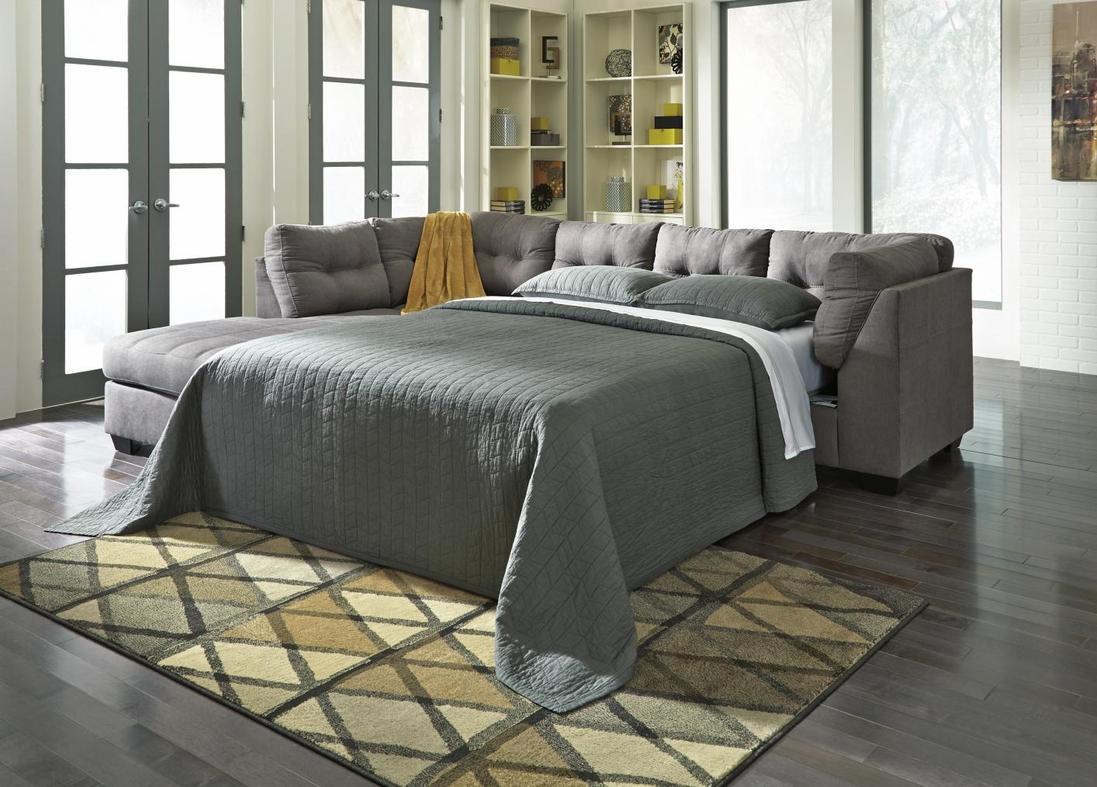 Maier Grey Fabric Sectional Sleeper Sofa