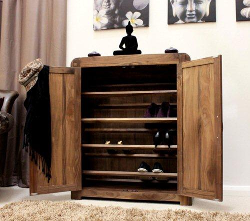 Shiro solid walnut hallway furniture shoe storage cupboard cabinet rack
