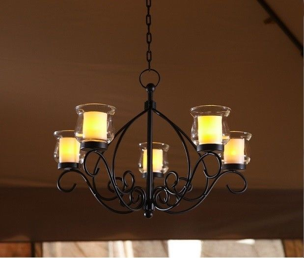 Rustic Votive Chandelier Hanging Candle Holder Patio Indoor Outdoor