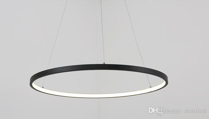 Dimmable Black Ring Pendant Lights 3/2/1 Circle Rings Acrylic Aluminum LED  Lighting Ceiling Lamp Fixtures For Living Room Dining Room Bedroom Hanging  Lights