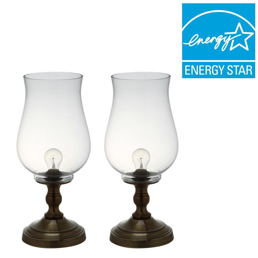 Bronze Uplight Hurricane Lamp with Clear Shade (Set of 2