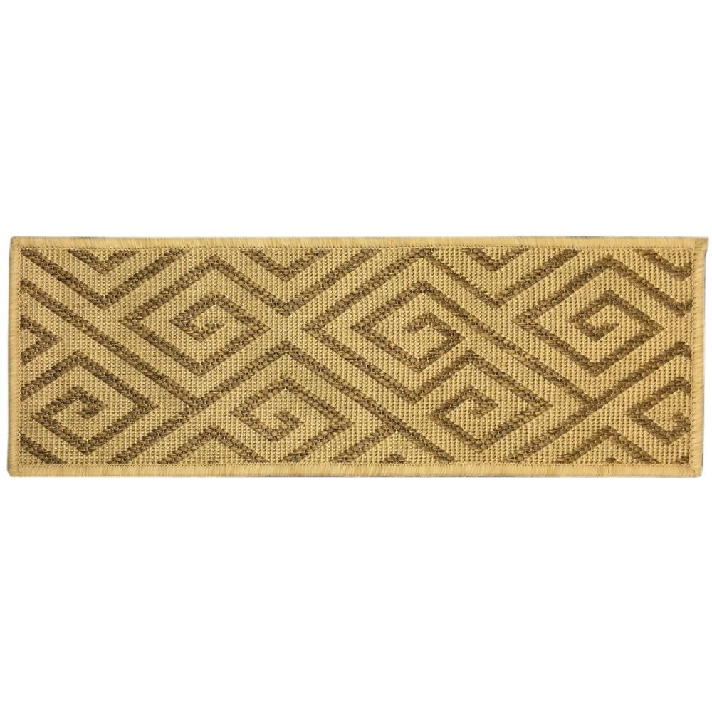 Jardin Collection Geometric Design Beige 9 in. x 26 in. Indoor/Outdoor Carpet  Stair Tread Cover (Set of 7)