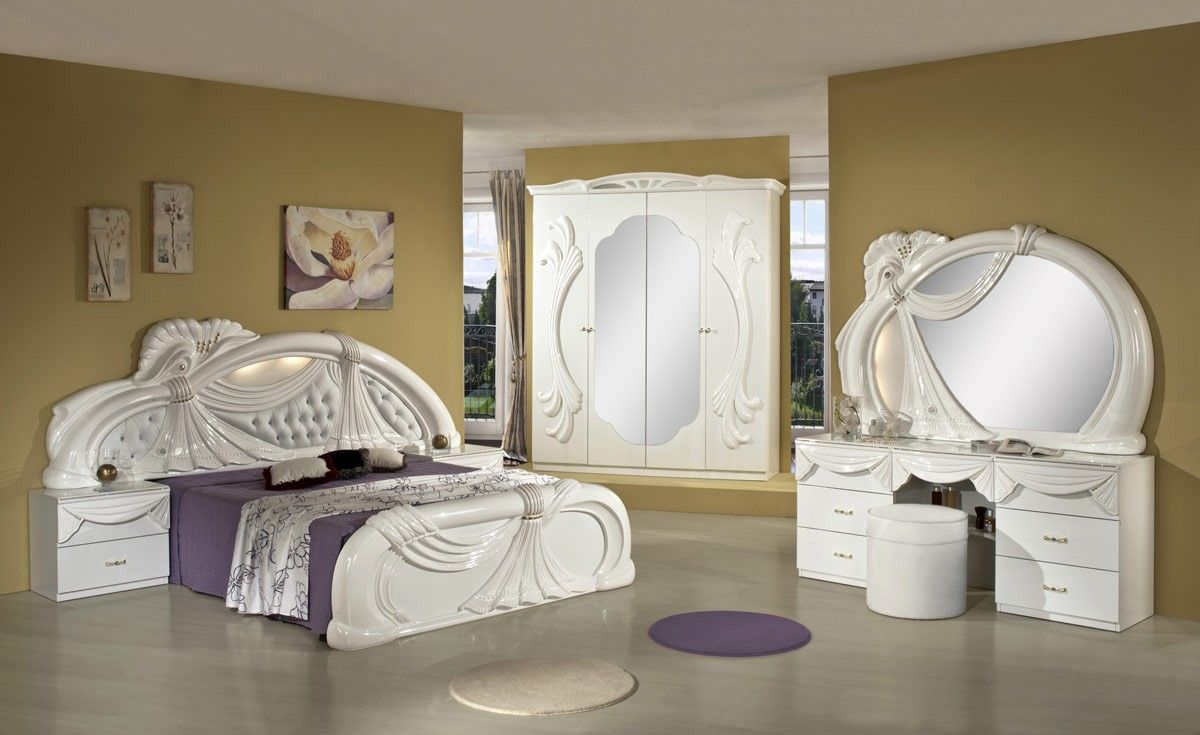 Gina White Italian Classic Bedroom Set Made In Italy