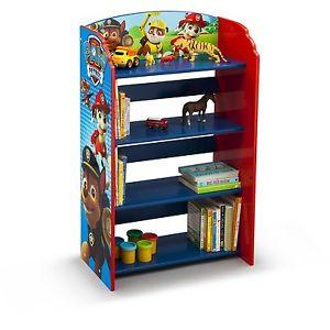 Image is loading Kids-Bookshelf-Storage-Paw-Patrol-Wooden-Toy-Organizer-