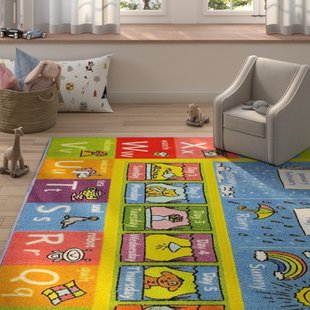 Weranna ABC Seasons Months and Days of the Week Educational Learning  Blue/Yellow Indoor/Outdoor Area Rug. By Zoomie Kids