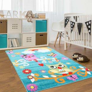 Jodie Kids Owl Turquoise Area Rug