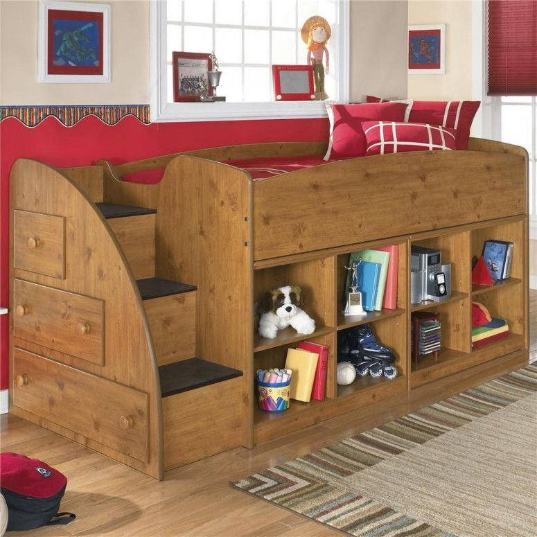 Kids Room Designs. Amazing kids room wooden twin loft bed with storage unit  underneath from Ashley Furniture. 30 Cool Kids Bedroom Space Sav.