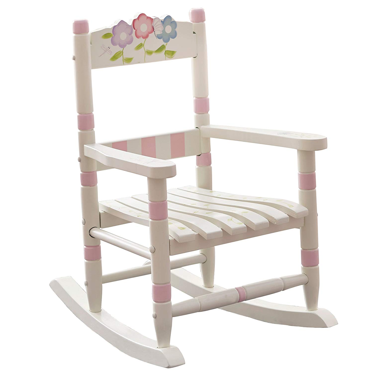Fantasy Fields - Bouquet Thematic Kids Wooden Rocking Chair Imagination  Inspiring Hand Crafted & Hand Painted Details Non-Toxic, Lead Free  Water-based Paint