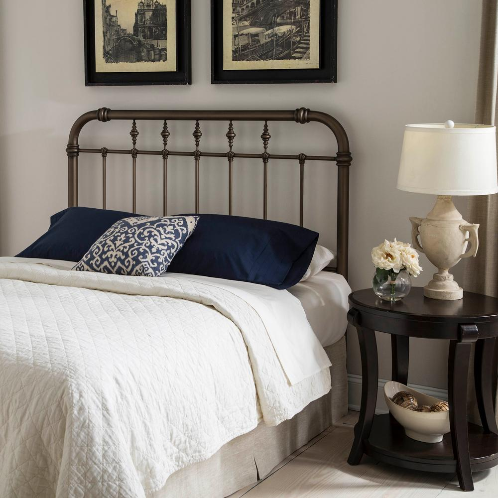 Vienna King-Size Headboard with Metal Spindle Panel and Carved Finials in  Aged Gold