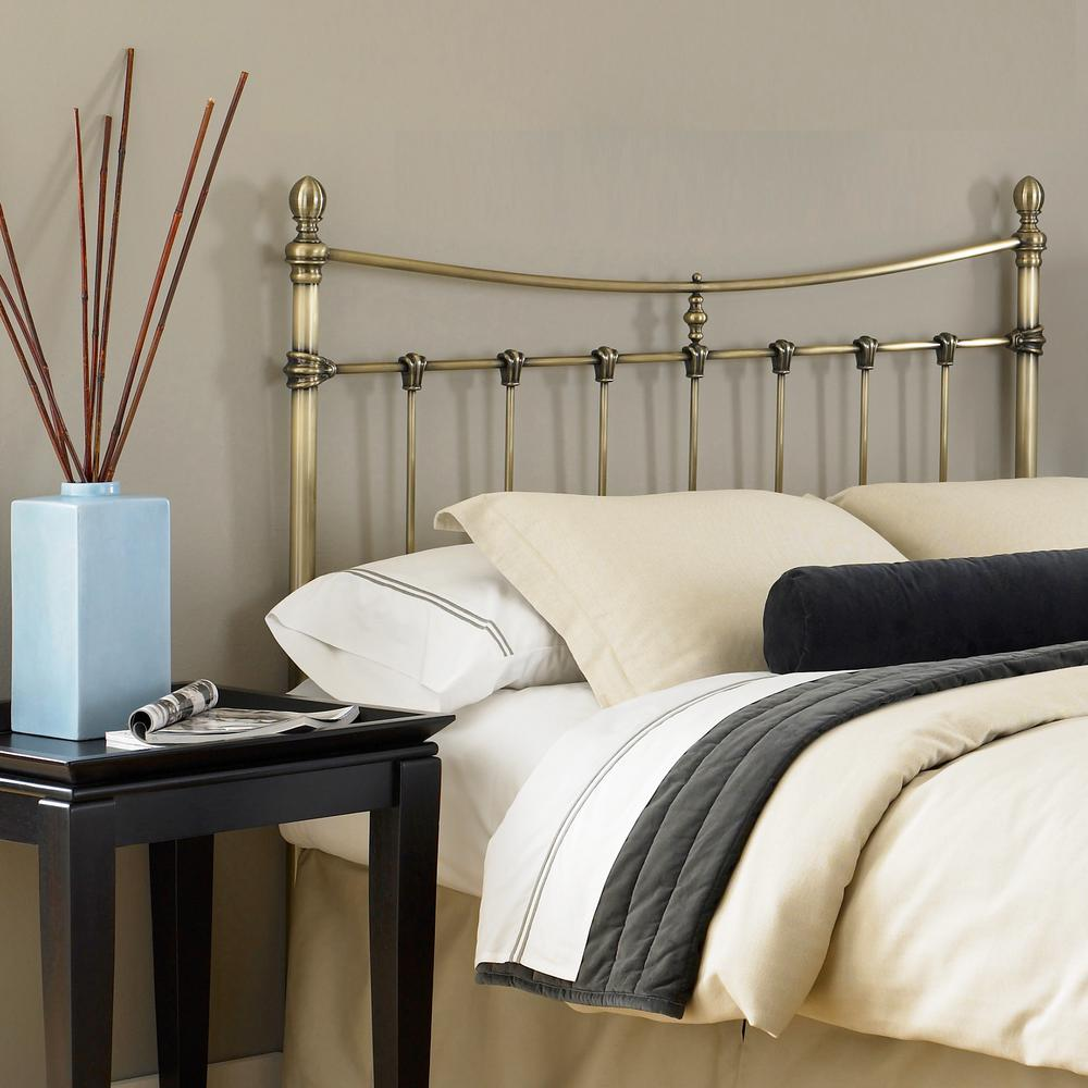 Leighton King-Size Metal Headboard with Rounded Posts and Scalloped  Castings, Antique Brass Finish, Full