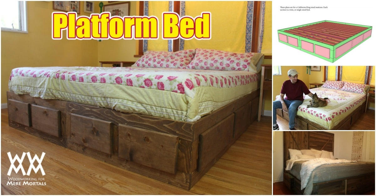 How to Build a King Size Bed With Extra Storage Underneath: Free Plans!
