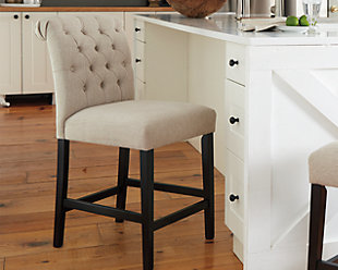 large Tripton Counter Height Bar Stool, Linen, rollover