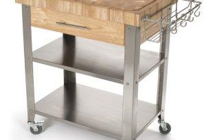 Rebrilliant Francis Kitchen Cart with Butcher Block Top & Reviews   Wayfair