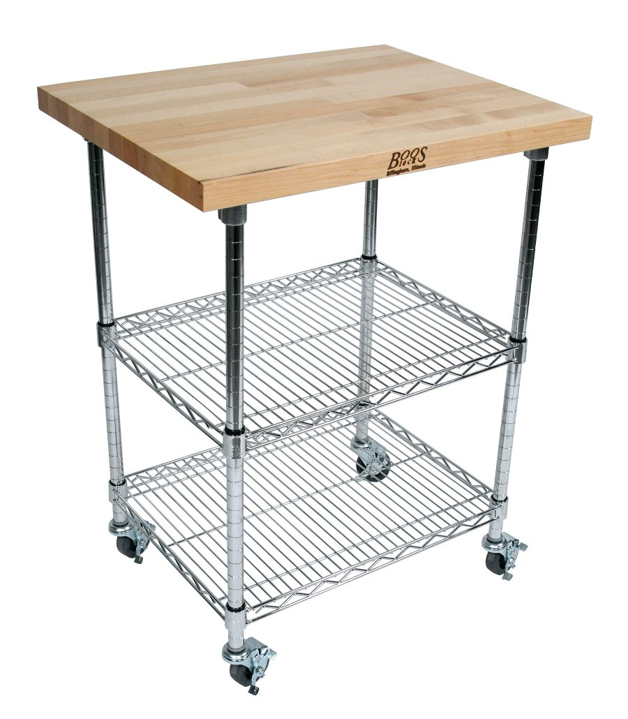 Boos wire & cherry butcher block cart