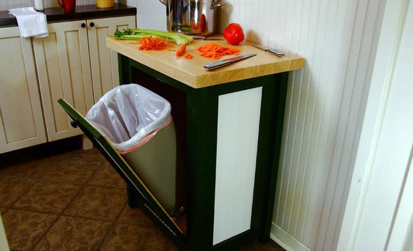 Kitchen Island Cart With Garbage Bin