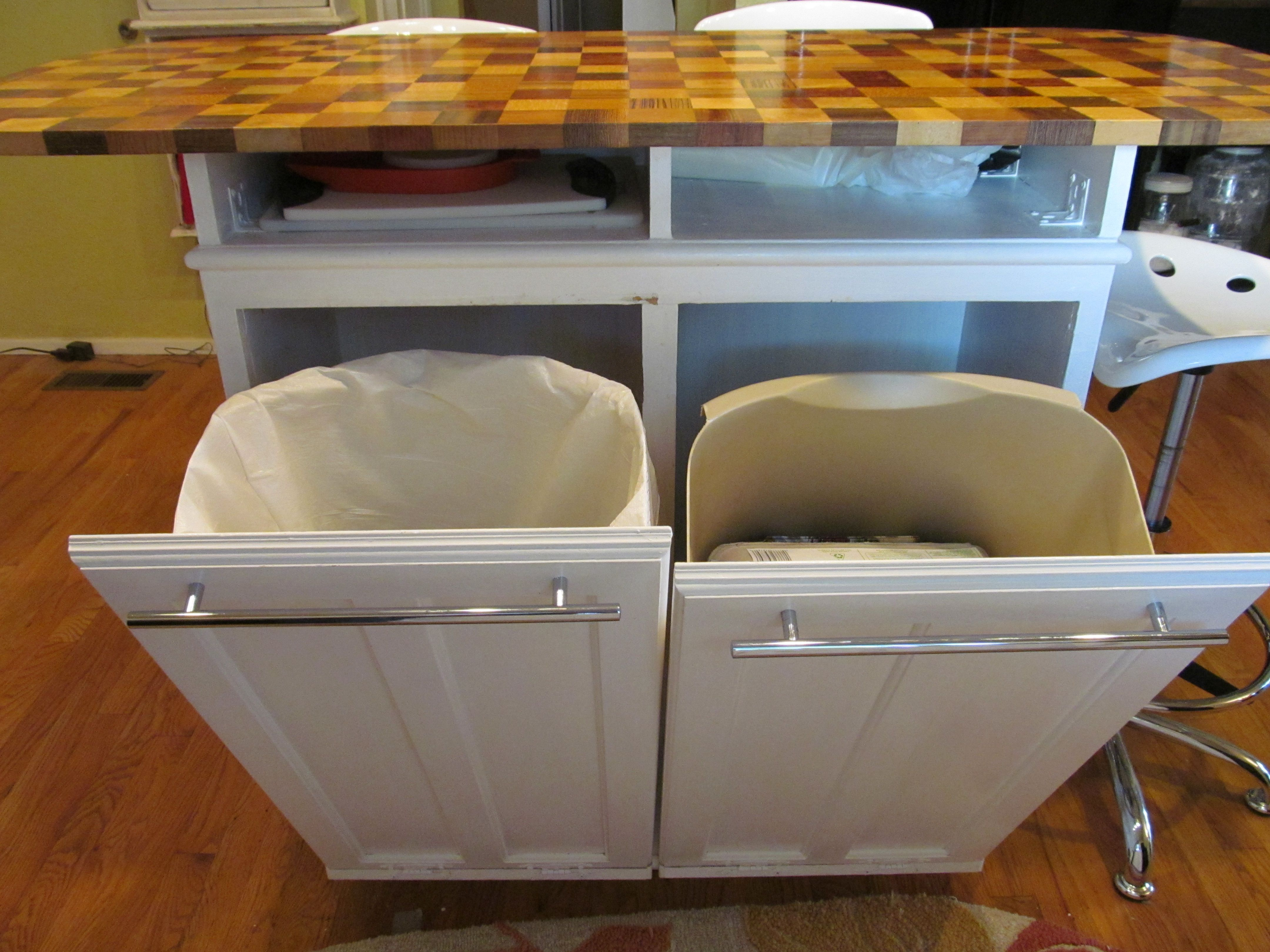 Kitchen Island Trash Bins - would fit in one foot cabinets in narrow space