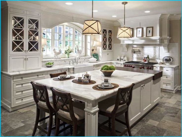 Cute kitchen designs with island kitchen:modern white countertop kitchen  island with seating classic pendant
