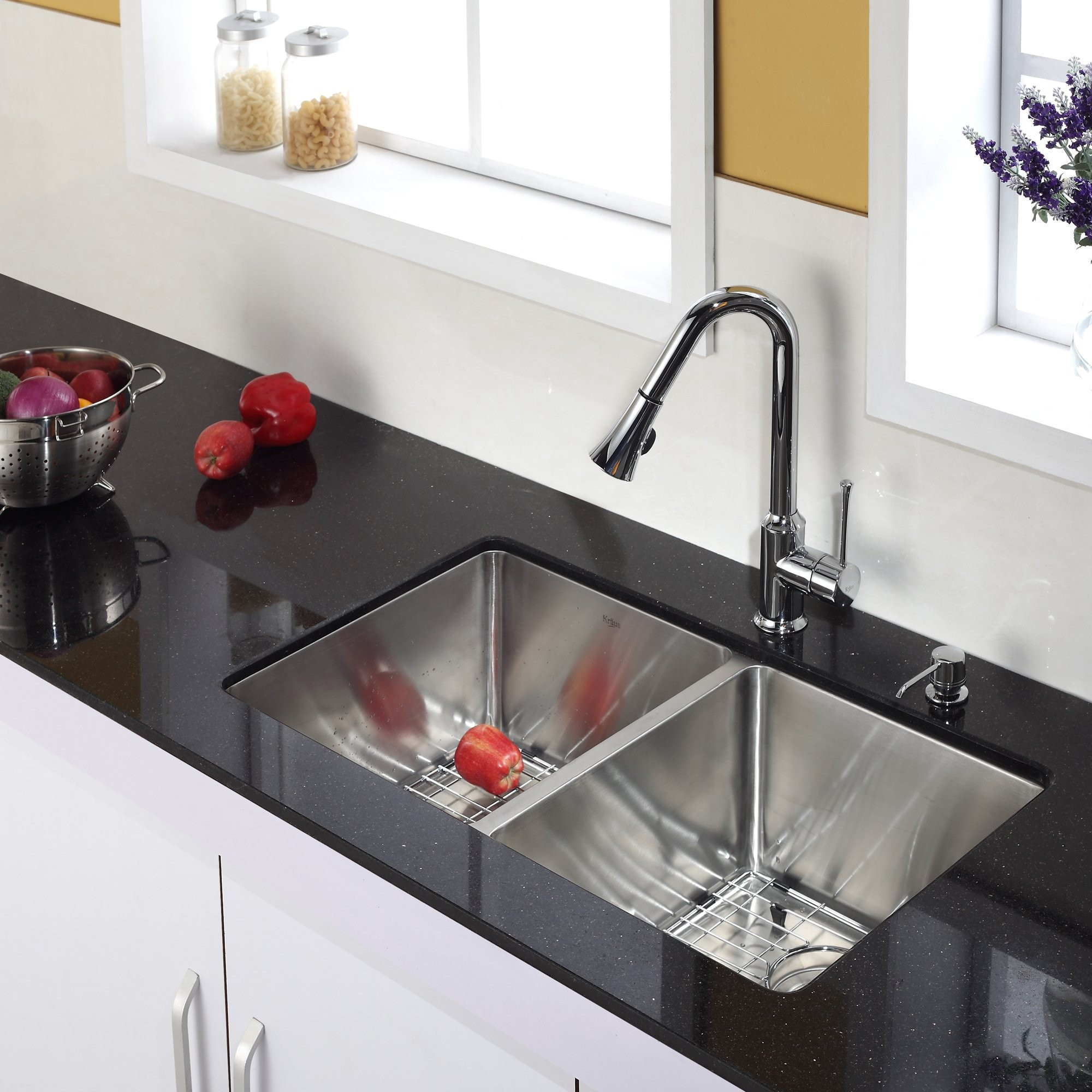 Discontinued-Single Lever Pull Out Kitchen Faucet and Soap Dispenser Chrome