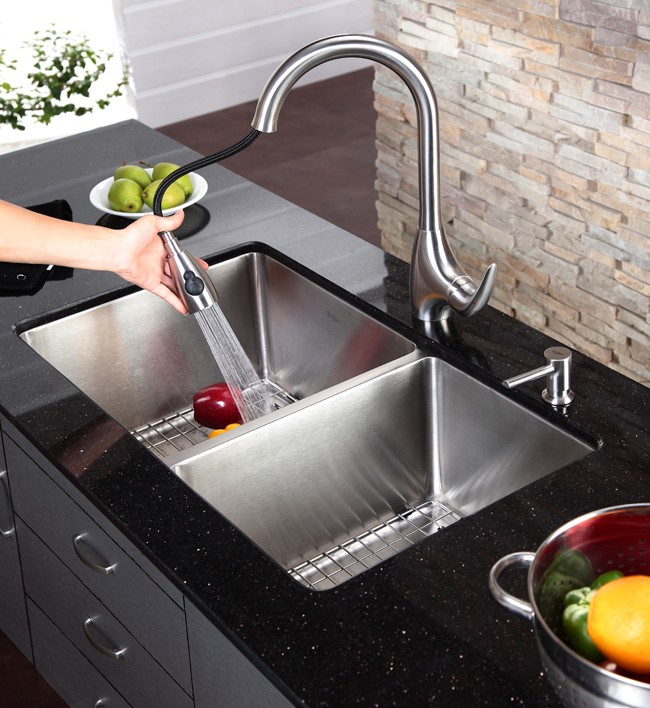 Discontinued-Single Lever Stainless Steel Pull Out Kitchen Faucet and Soap  Dispenser