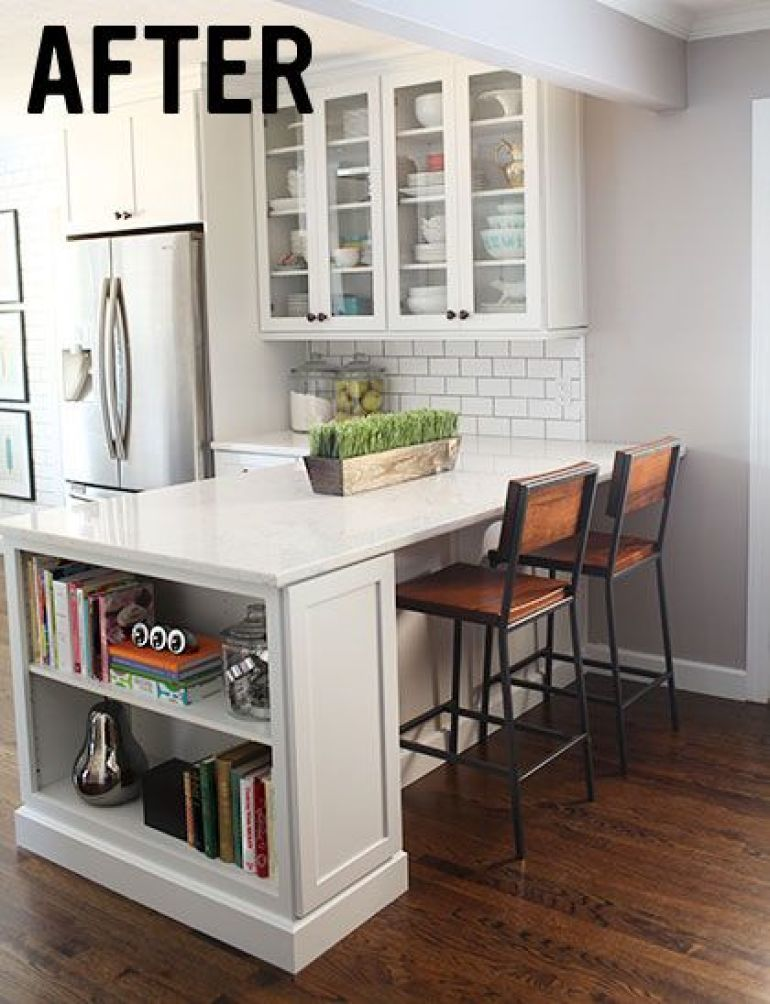 This is what I want the kitchen to look like - add in sink and stove into  bar (like at home). Small L shaped kitchen
