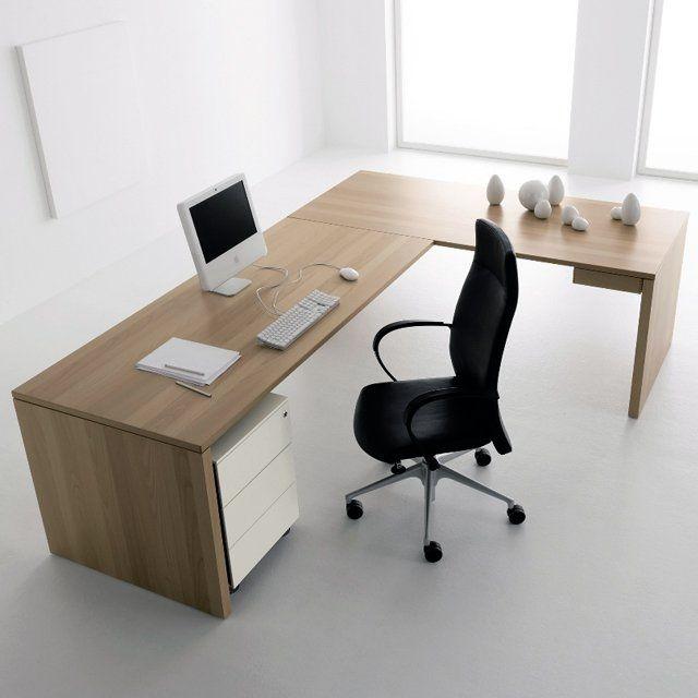 Home Computer Desks Modern Corner Computer Desk Furniture With Untreated  Made Of Wood Oak Material Having Some Slide Drawer And Cabinet