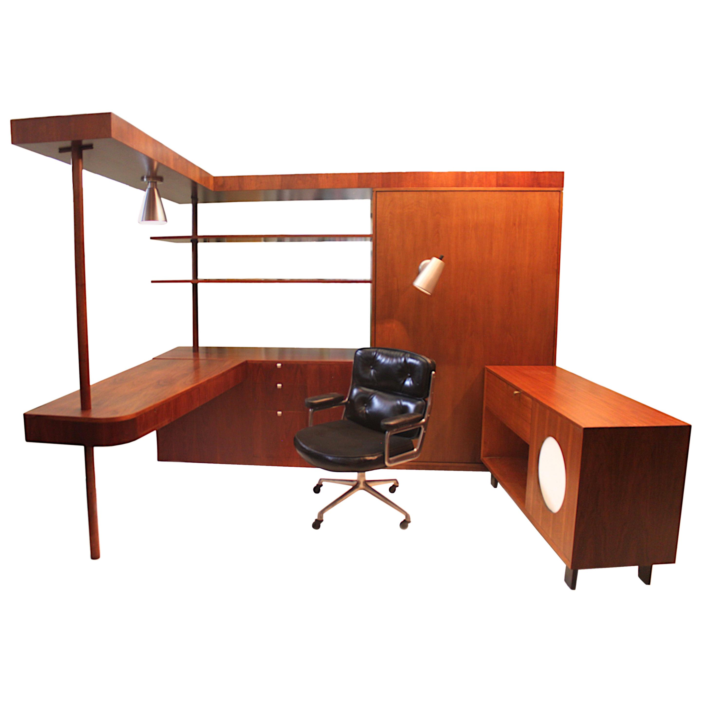 Vintage 1949 Mid-Century Modern Custom L-Shaped Office Desk by George  Nelson For