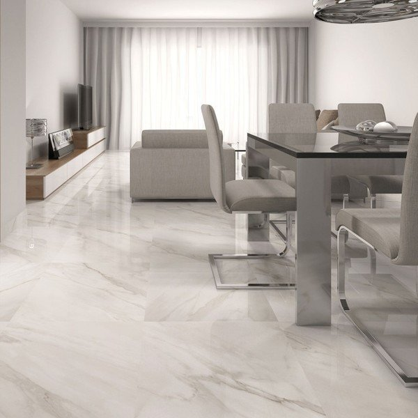 Calacatta White Gloss Floor Tiles - Beige Design