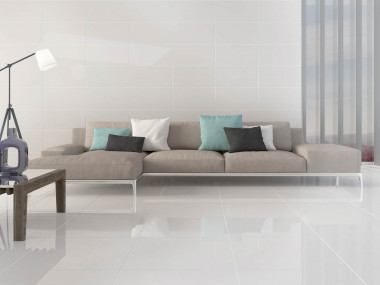 Super White Nano Shiny Polished Porcelain Floor Tile - 600 x 600mm