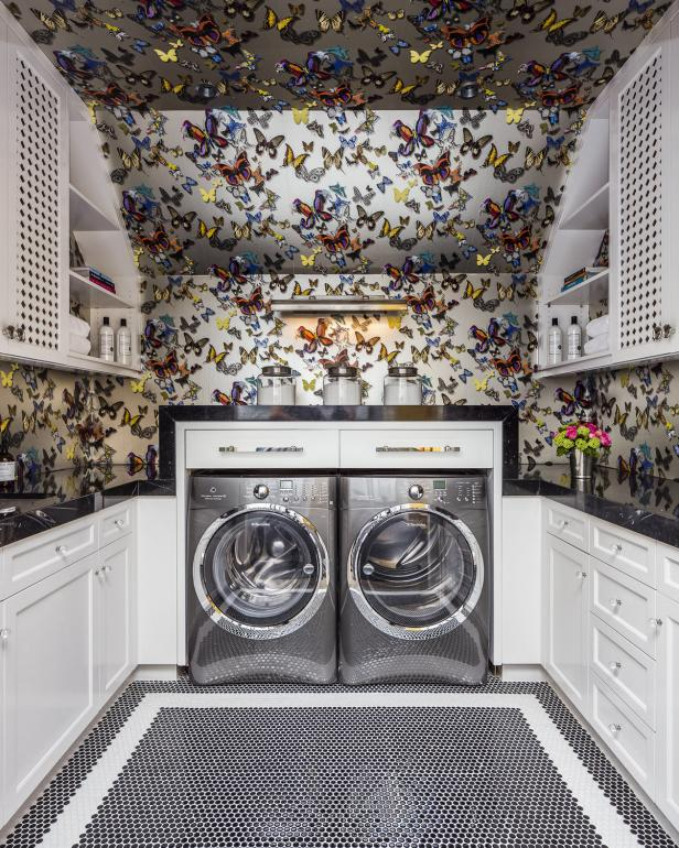 Butterfly Print Wallpaper Brings Laundry Room to Life