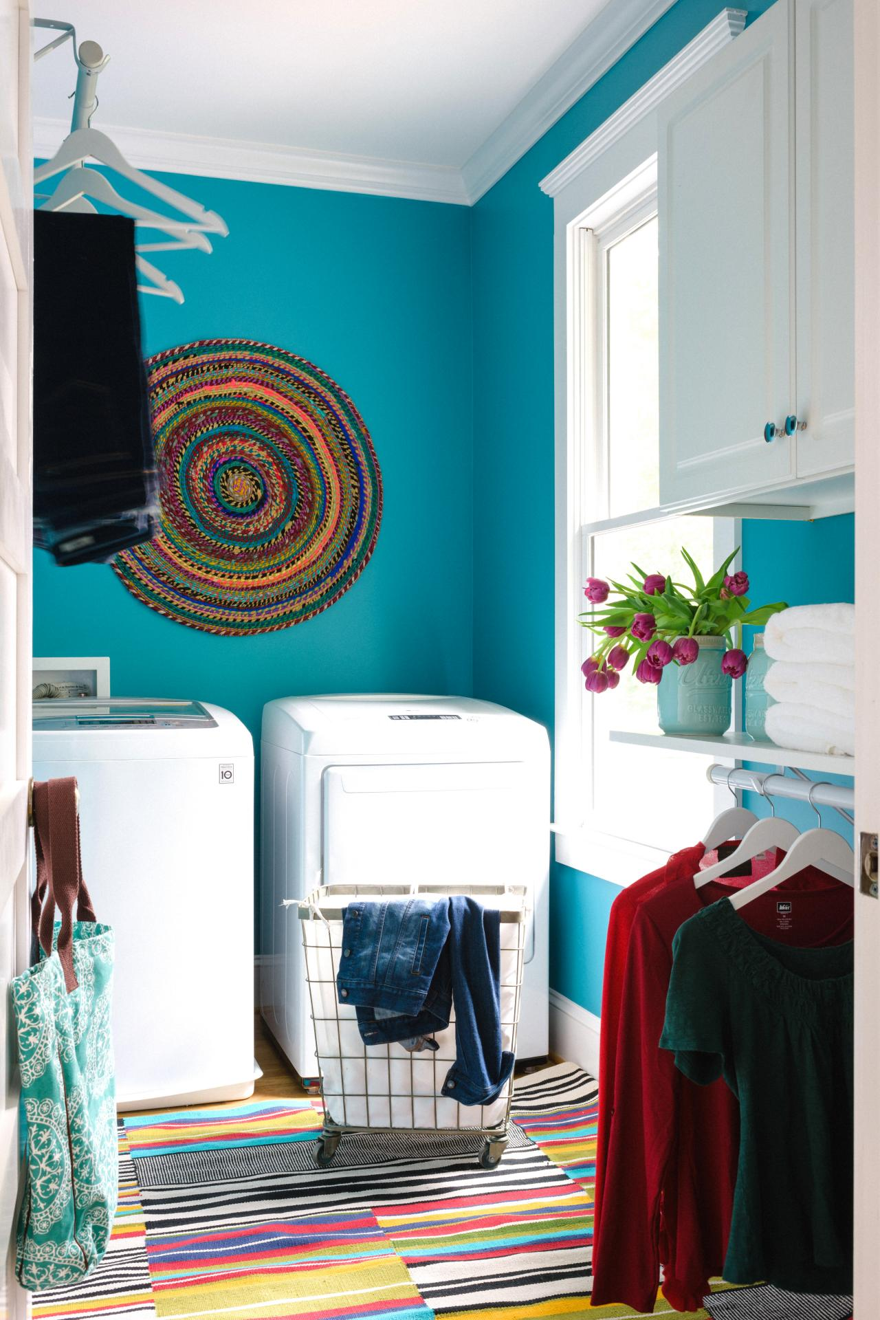 Turquoise Blue Transitional Laundry Room