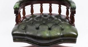 English Hand Made Leather Captains Desk Chair Green For Sale at 1stdibs