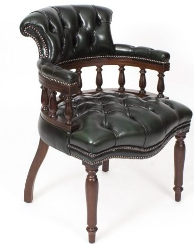 Hand Made in England - Leather Captains Desk Chair in Olive Green
