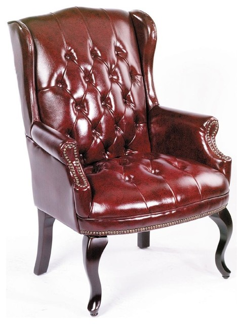 Wingback Chair In Burgundy Vinyl-Button Tufting, Nail Head Trim