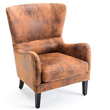 Amazon.com: Belleze Wingback Chair Leather Nail Head Trim High Back
