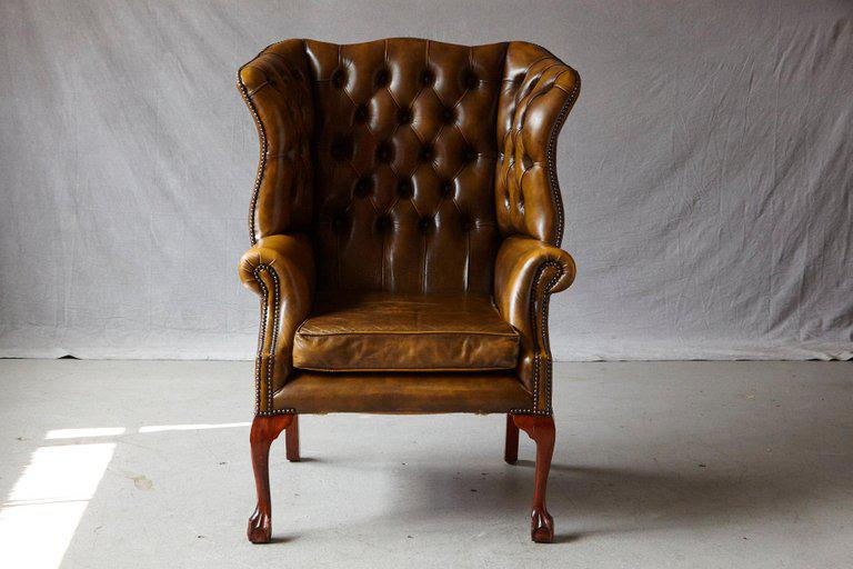 Superb Buckingham Walnut Burnished Leather Wingback Chair by Hancock