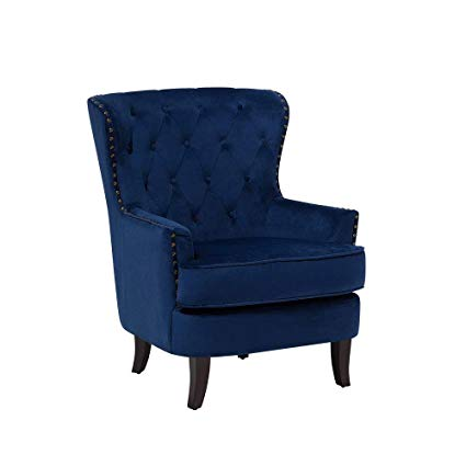 Amazon.com: Beliani Classic Wingback Chair Button Tufted Nailhead