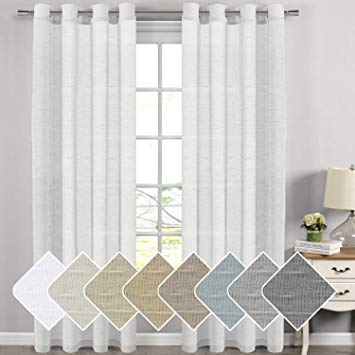 H.VERSAILTEX Extra Long Linen Curtains Window Treatments for Living Room/Rich  Linen Sheer