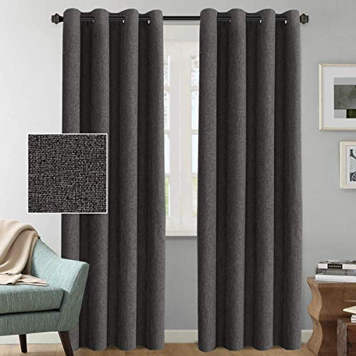 H.VERSAILTEX Rich Linen Blackout Curtains 108 Inches Long Room Darkening  Textured Linen Extra Long