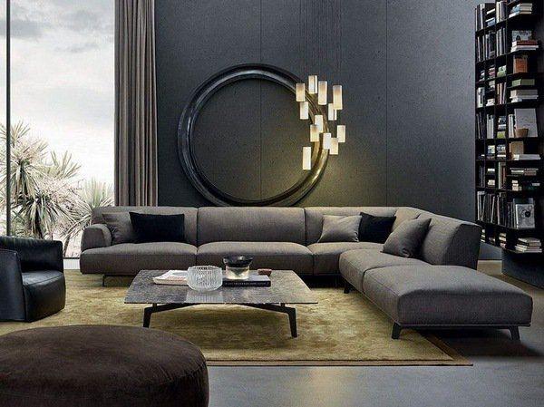 gray corner sofa modern living room interior design gray wall color gold  shade carpet