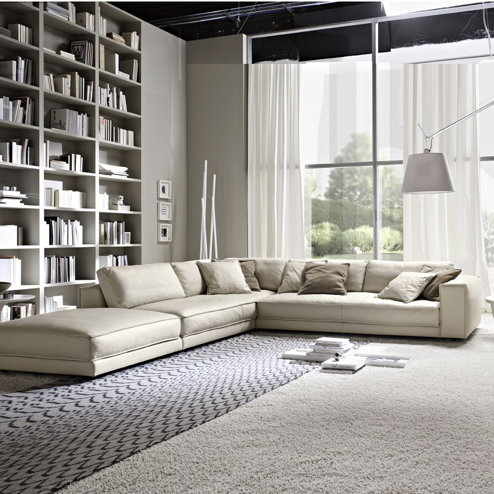 Minerale Modern Italian Corner Sofa in cream leather