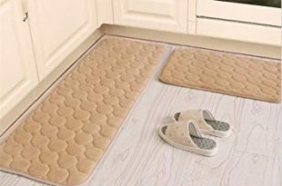 Kitchen Rugs,CAMAL 2 Pieces Non-Slip Memory Foam Kitchen Mat Rubber Backing  Doormat